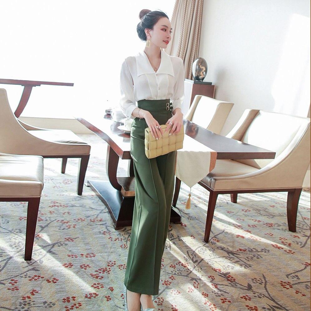 2020 novas mulheres verão ol calças de negócios terno elegante escritório manga longa camisa superior & cintura alta calças perna larga duas peças conjunto z267