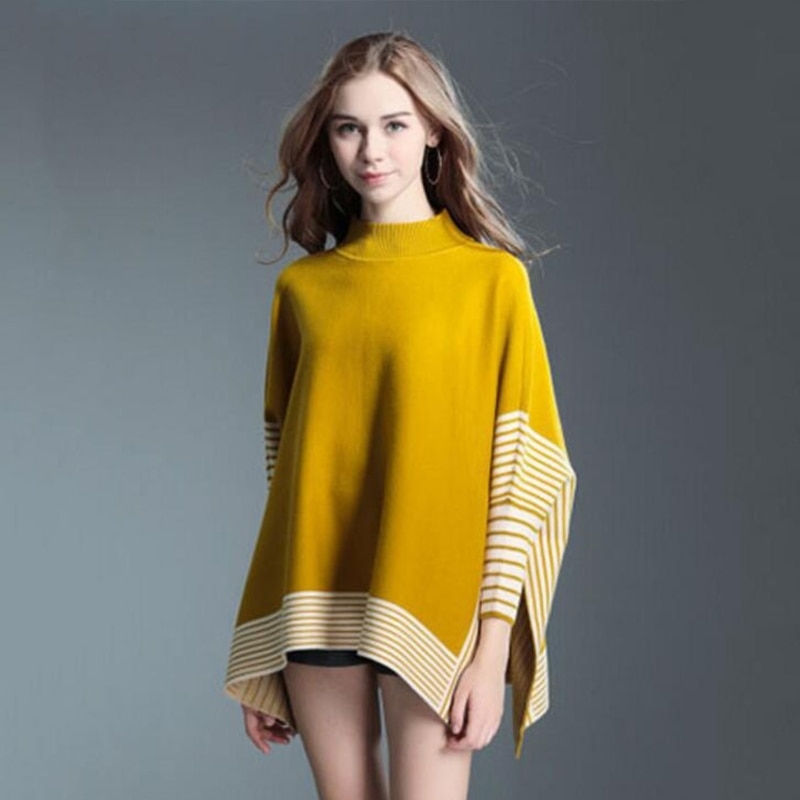 Women Autumn Winter Bat Sleeves Knitted Sweater Striped Loose Pullover Jumper enlarge
