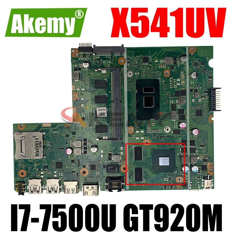 AKEMY X541UV اللوحة الأم لأجهزة الكمبيوتر المحمول ASUS VivoBook A541UV X541U اللوحة الرئيسية الأصلية 4GB-RAM I7-7500U GT920M (واجهة دبوس))