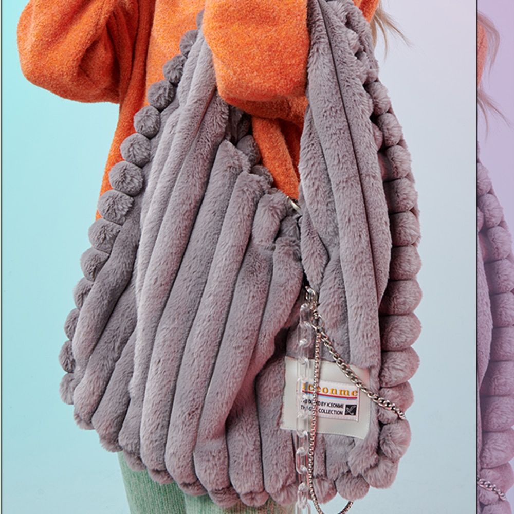 Winter Soft Plush Hobo Handbag Designer Big Tote Large Faux Fur Tote Women Shoulder Bag Luxury Fluffy Shopper Bags for Women New