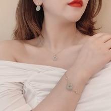 Niche Design Vintage Jade Necklace Earring Bracelet Set Simple Graceful Safety Buckle Pendant Clavic