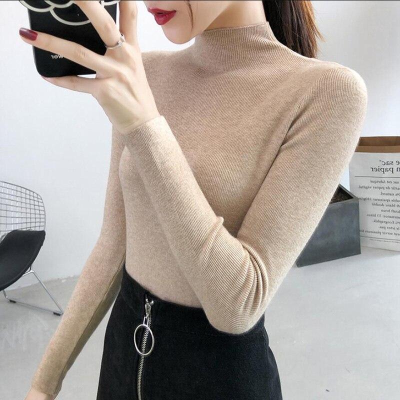Knitted Sweater Women 2021 Autumn Winter Korean Half Turtleneck Long Sleeve Slim Pullover Female Jumper Bottoming Knitwear недорого