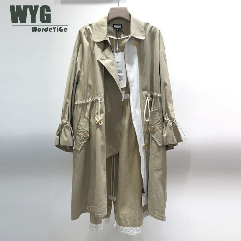 Único designer casual trench coat 2020 primavera inglaterra moda estilo drawstring alargamento manga senhoras khaki trench coat