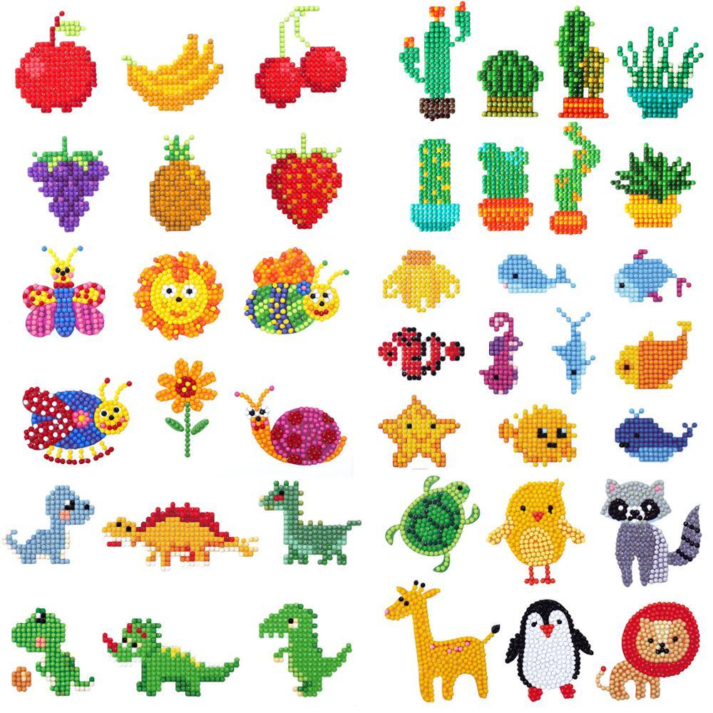 Pintura de diamantes redondos, Mini dibujos animados para niños, bordado de diamantes para niños, decoración DIY, todo adhesivo de diamantes creativo