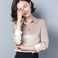 silk shirts for women satin white shirt women solid long sleeve blouses for woman silk blouse office lady satin blouses tops 3xl