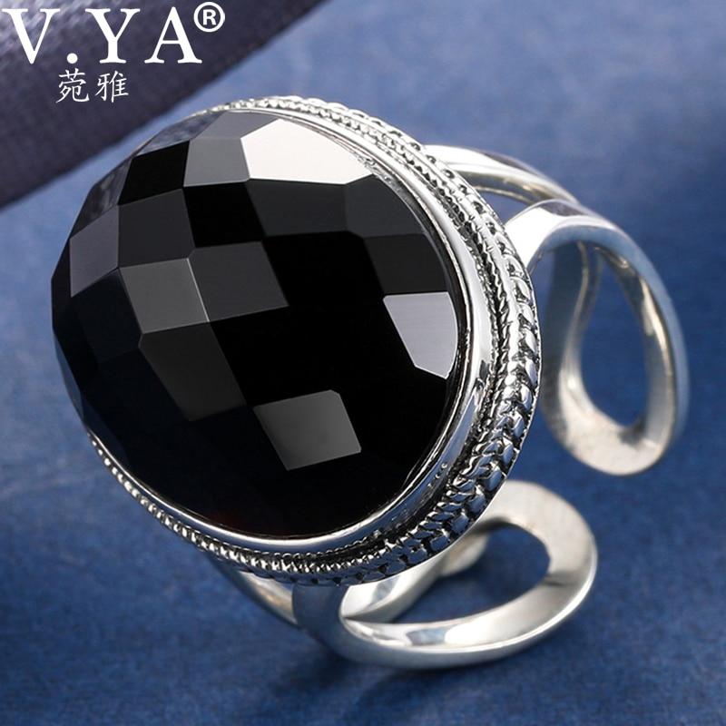 V.YA S925 plata esterlina negro Vintage anillo mujeres Cool negro piedra abierto anillo joyas de Steam Punk regalo Drop Shipping