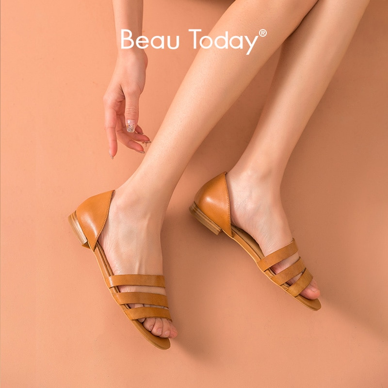 Sandalias de gladiador BeauToday para mujer, zapatos planos de playa de verano Retro hechos a mano A32136
