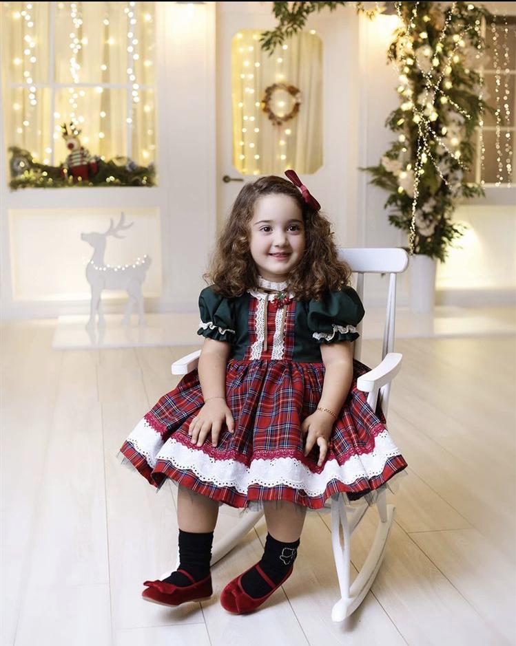 0-12Y طفلة الخريف الشتاء الأحمر منقوشة خمر الإسبانية الأميرة الكرة ثوب فستان لعيد الميلاد السببية