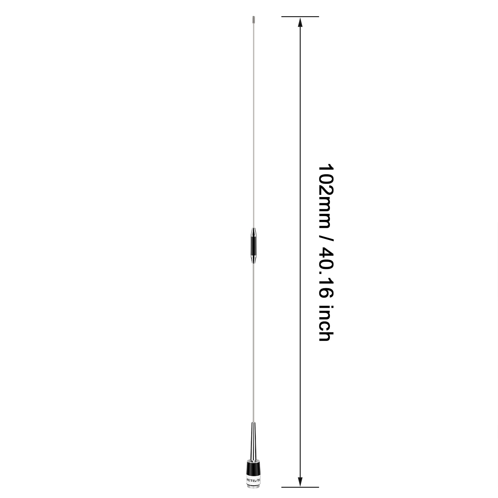 Retevis MA08 Omni-Directional Mobile Car Radio Antenna Walkie Talkie VHF 136-174MHz 200W 2.15dBi with PL259/SL16-J/M Connector enlarge