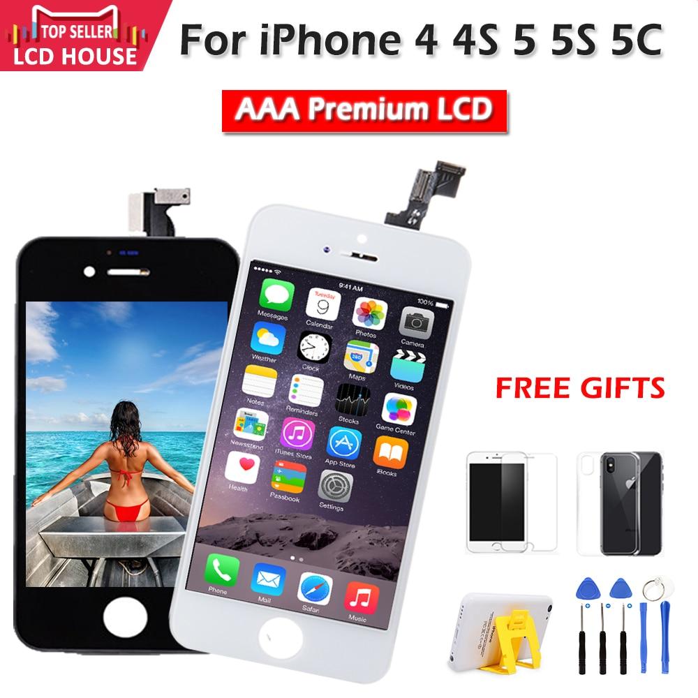 Pantalla AAA para iPhone 4, 4S, 5 5S, 5C, LCD, pantalla táctil, digitalizador, módulo frontal de cristal, montaje, pantalla LCD de teléfono clon de repuesto