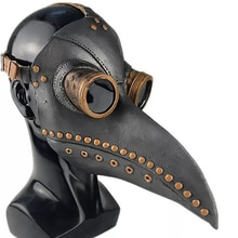 Medieval Steampunk Plague Doctor Mask Leather In Black Beak Mask PU Birds Halloween Cosplay Prop Doctour De Peste Club Props