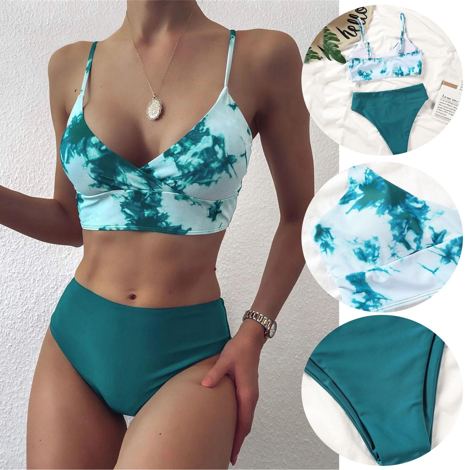 Traje de baño Sexy para mujer, moda de Color verde, Bikini Push-Up, traje de baño de playa, 2021