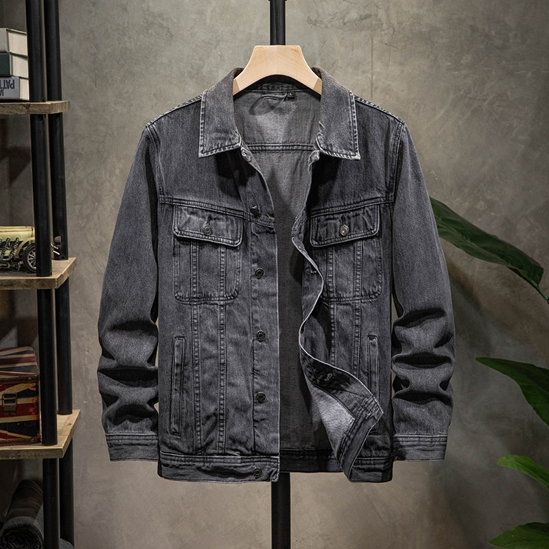 Новинка осени 2020, Мужская джинсовая куртка, модная повседневная Свободная джинсовая куртка с отворотом, классическая черная хлопковая курт...