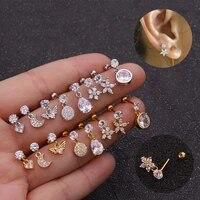 1pc big cz ear bone heart flower cartilage piercing stud earrings for women helix rook conch lobe screw back puncture jewelry