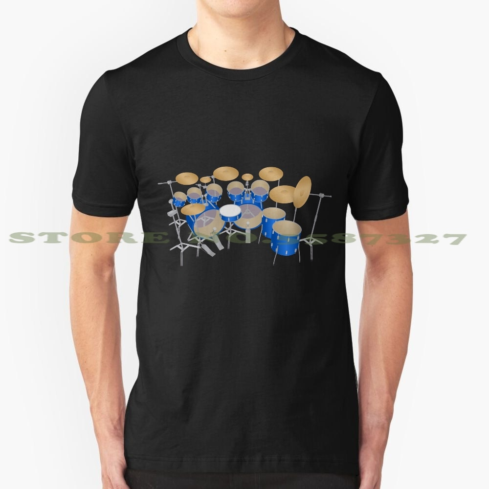 Kit de batería azul, camiseta negra y blanca para hombres y mujeres, juego de tambores, percusión, instrumento musical, Tama Ludwig Pearl, modelo 3D, Remo