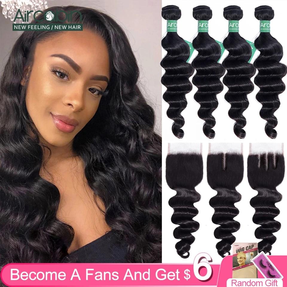Aircabin Loose Deep Wave Bundles With Closure Brazilian 100 Remy Human Hair Weave 3 4 Bundles Swiss Lace Closure Can Be Dye 3 4 Bundles With Closure Aliexpress