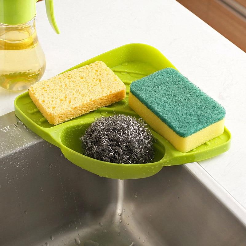 Полка для хранения кухонной раковины 1 шт., держатель губки с присоской, лоток-сушилка, органайзер для кухни, полка, держатель для специй, акс...