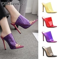 2020 concise fashion pvc woman sandals transparent sandals pointed toe 11 5cm thin heels high heels slip on women shoes red