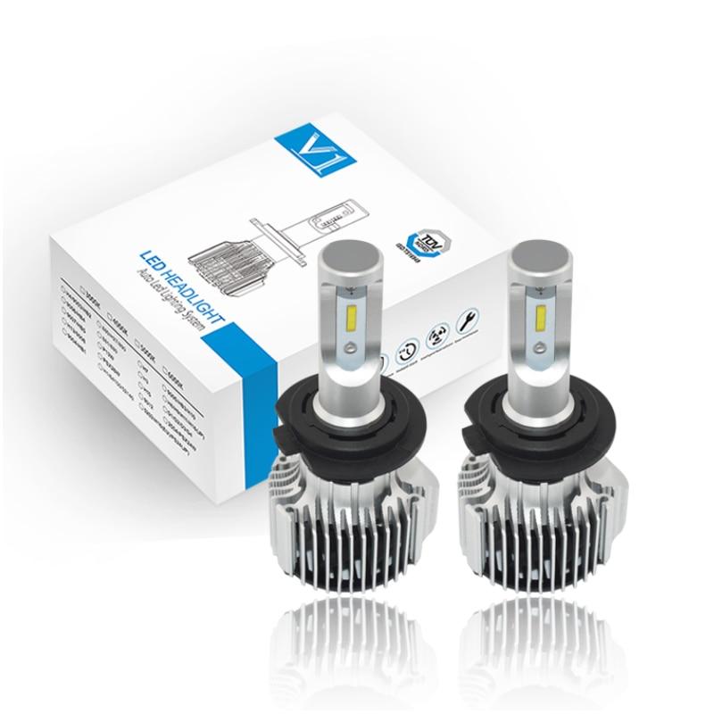 72W V1 LED Headlight Bulbs 8000LM H1 H3 H4 H7 H11 HB3 HB4 Auto V1 LED Headlamp 10-30V Car Styling Replacement Car Headlight Kit