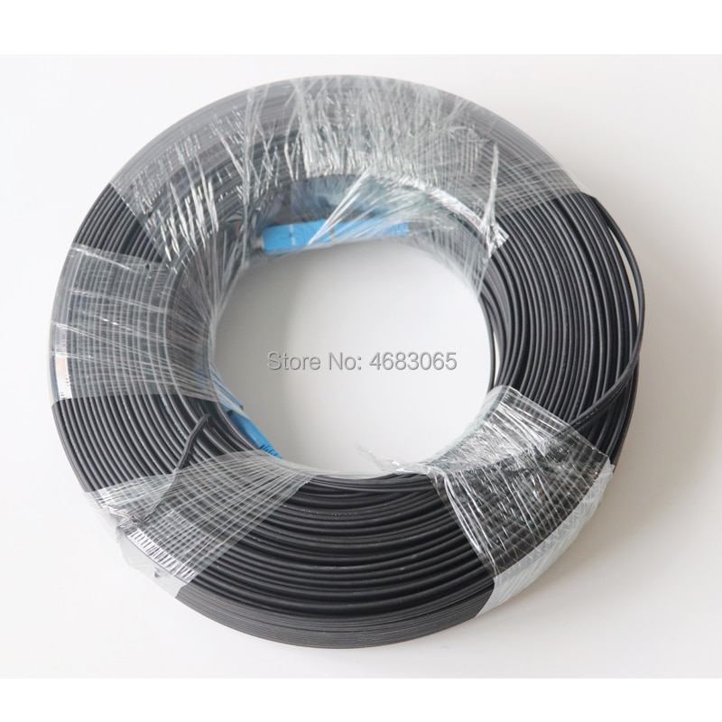 Cable de conexión de 100M SC UPC Simplex FTTH Drop Patch SC SM Simplex G657A, Cable de puente de fibra óptica FTTH para exteriores