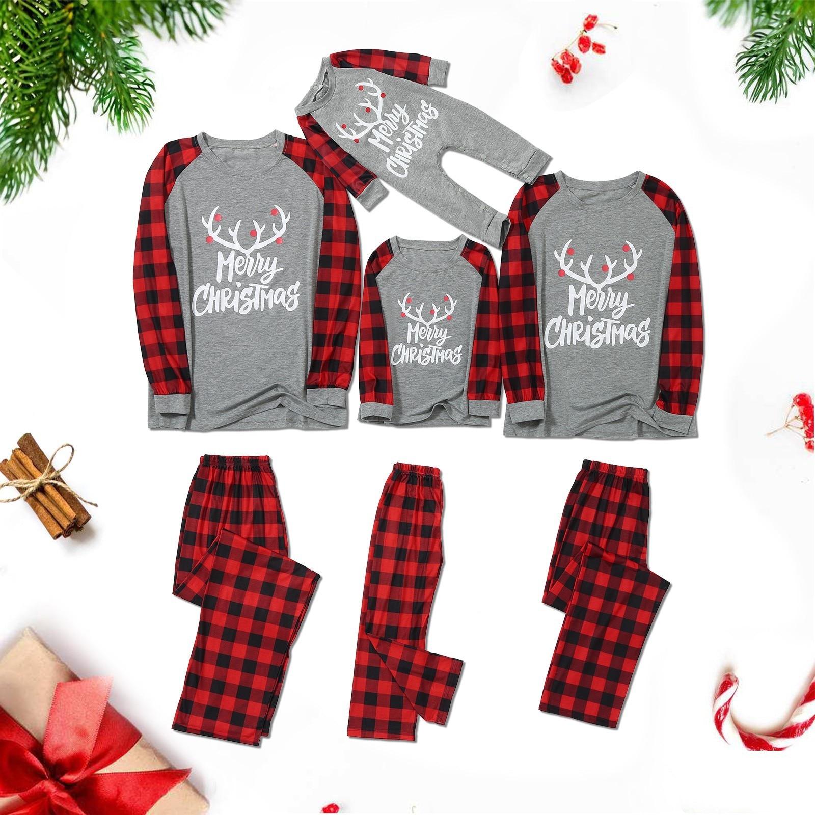Pijama familiar de navidad con letras a cuadros para niños, Top con...