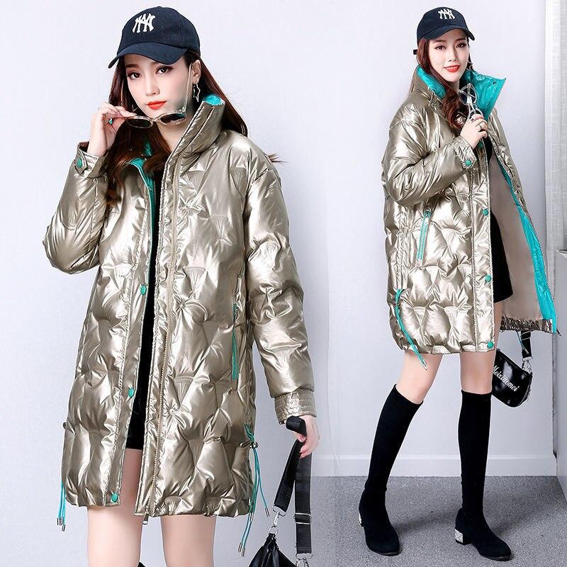 2020 جديد الكورية رشاقته لامعة أسفل سترة الشتاء النساء معطف الوقوف طوق الدافئة فضفاضة طويلة الثلوج أبلى زائد حجم ستر الإناث