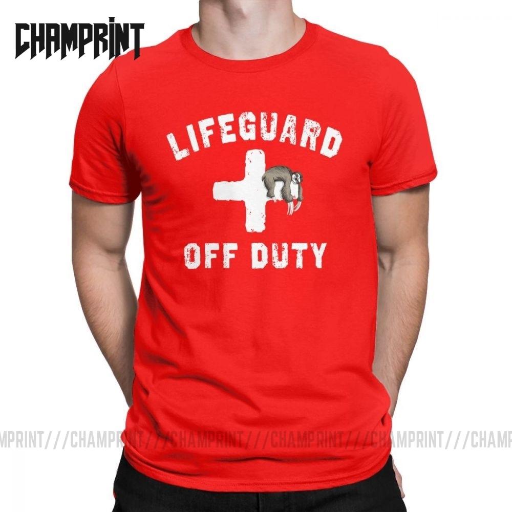 Camiseta de hombre Off Duty Sloth Napping Lifeguard Humor algodón camisetas de manga corta rojo salvavidas uniforme camiseta ropa de talla grande