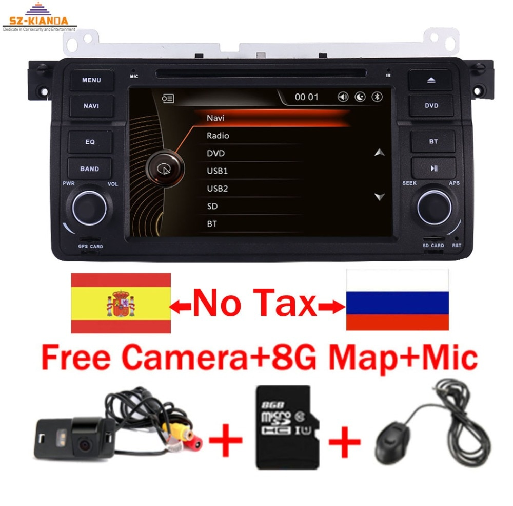 Precio de fábrica 1 reproductor de DVD de coches Din para BMW E46 M3 con GPS Bluetooth Radio RDS USB volante Canbus mapa gratis + cámara MIC
