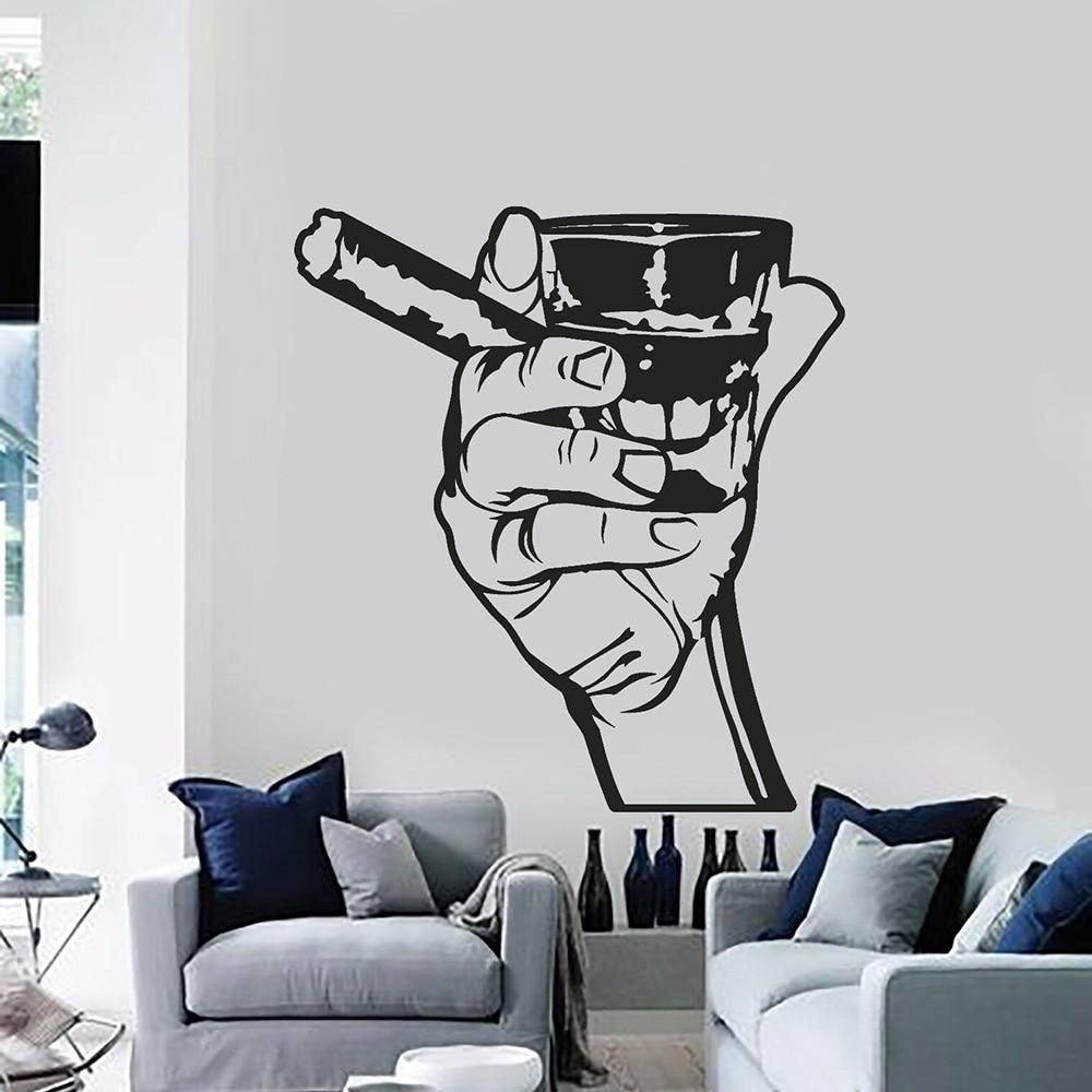 Наклейка на стену для паба, напиток, алкоголь, Мужской бар, виски, ром, сигары, расслабление, виниловые наклейки на стену для кухни, интерьера,...