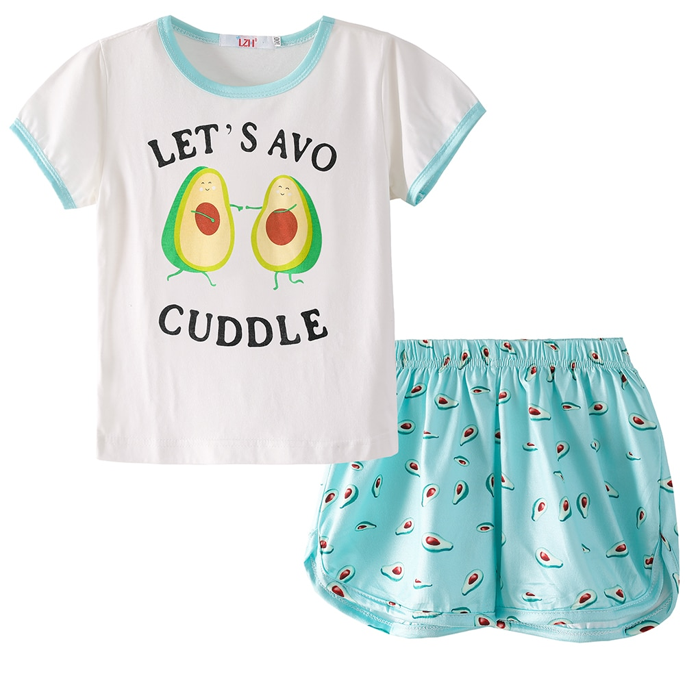 Пижама LZH с мультяшным принтом для девочек, Хлопковая пижама, детская одежда для сна, Детская Повседневная Домашняя одежда, костюм, летняя пижама для девочек 2021|Комплекты пижам| | АлиЭкспресс