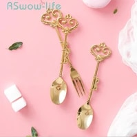 golden vintage crown dessert fruit fork coffee spoon with drill stainless steel fork spoon mini spoons for kitchen supplies