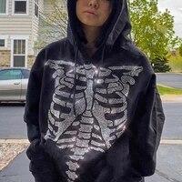 rainbowwaves gothic black hoodie women drawstring casual oversized sweatshirt punk girl long sleeve outerwear