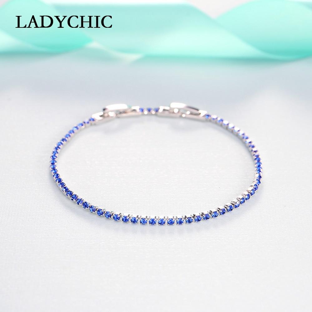 LADYCHIC Blue Green Black 3 Colors Crystal Slim Tennis Bracelets for Women Girls Trendy Cute Link Chain Jewelry Wholesale LB1008