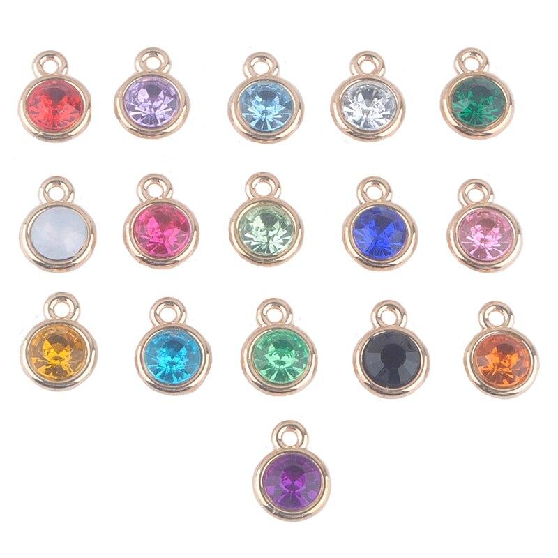 12 unids/lote de abalorios variados de piedra natal de 11mm de acrílico dorado para Diy collar y pulsera dijes para la fabricación de joyas A004