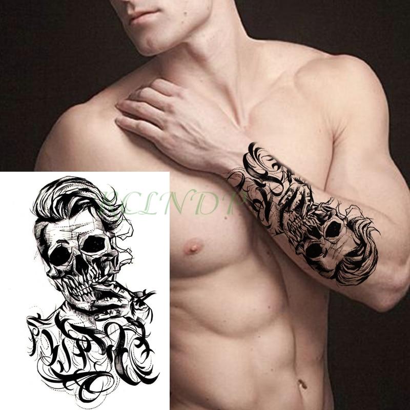Водонепроницаемая Временная тату-наклейка Джокер череп дым буквы большой размер черный флэш-тату поддельные боди-арт Татто для девушек мужчин женщин