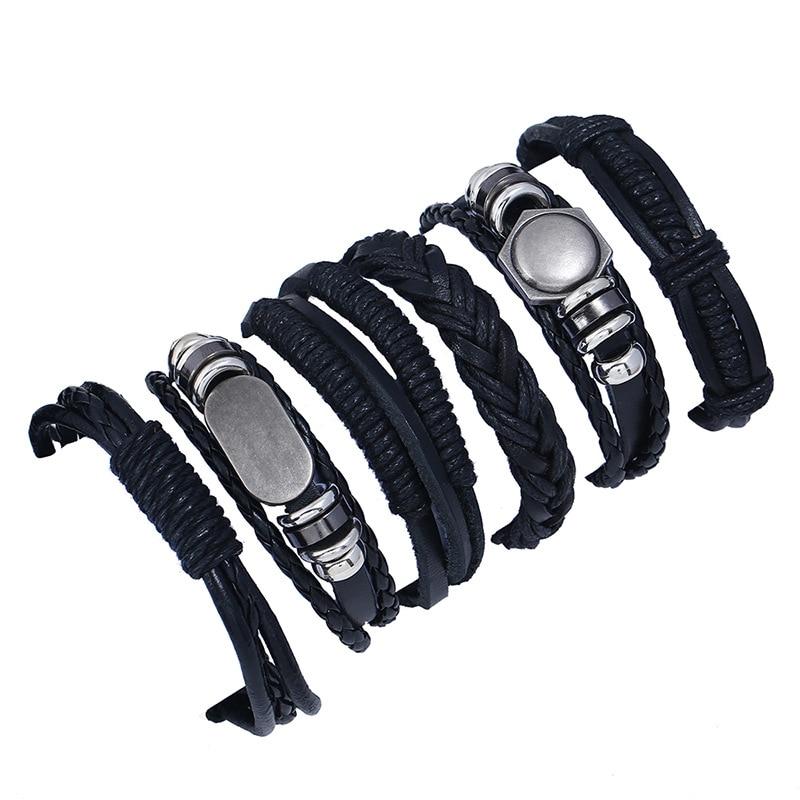 2020 hombres 6 uds Vintage cuerda clásica pulsera brazalete de moda múltiples capas búho conjunto de pulsera de cuero joyería masculina