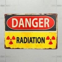 artistic tinplate painting fashion print danger radiation retro decor metal tin sign garage home bar wall decoration