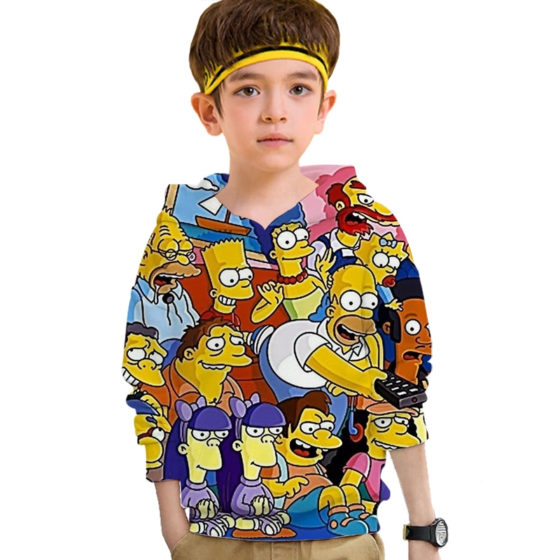 Sudaderas divertidas 3D bart Simpson para chicas adolescentes Anime Harajuku ropa de bebé casual Hip hop Pullover Top sudaderas ropa de calle