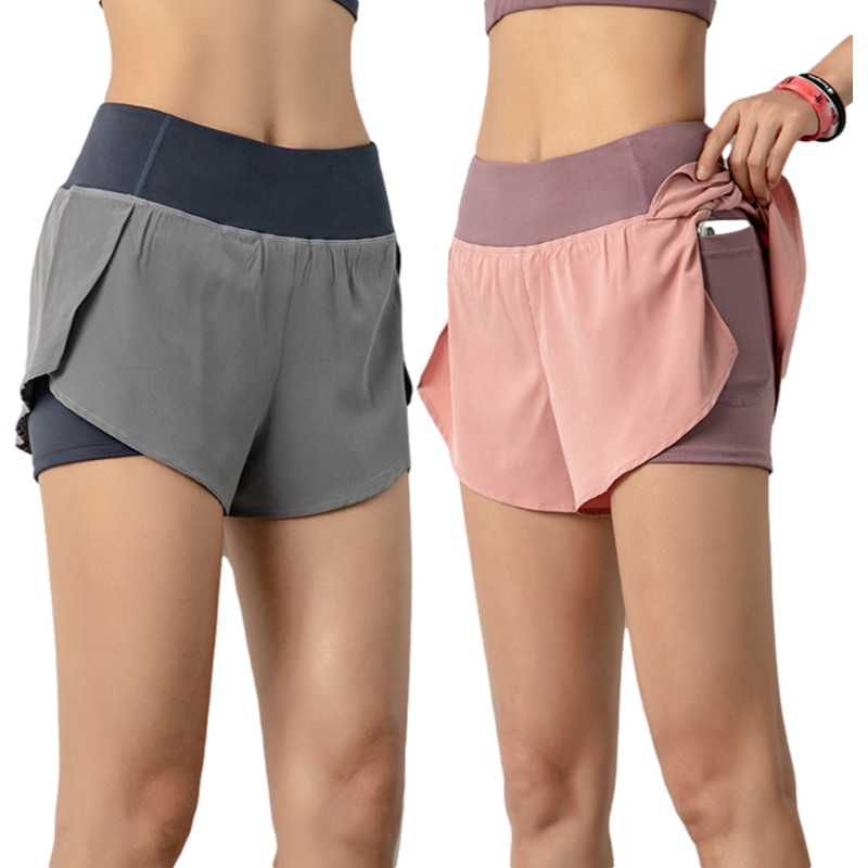 Summer Fake Two-piece Female Sports Shorts  Anti-empty Running Yoga Tights  Fitness Abdominal Pockets And Shorts women sports shorts comfortable elastic band fake two compression solid running yoga shorts