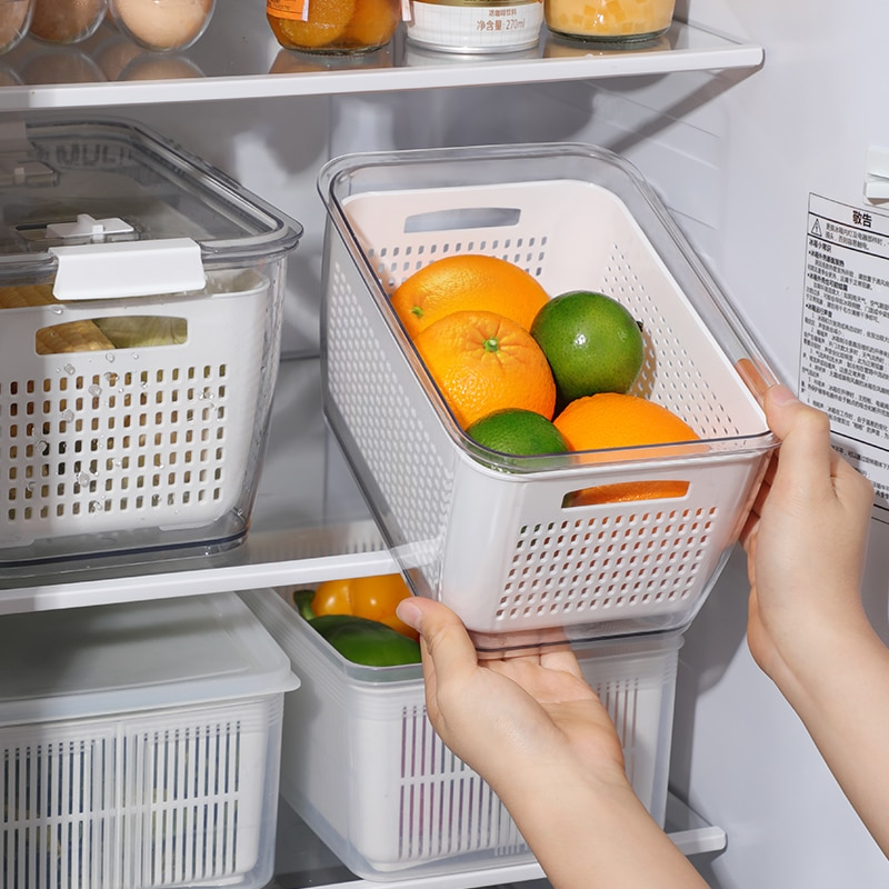 Refrigerator Organizer Fresh-Keeping Boxes Jewelry Box Fruit Vegetable Drain Basket Kitchen Food Storage With Lid Containers