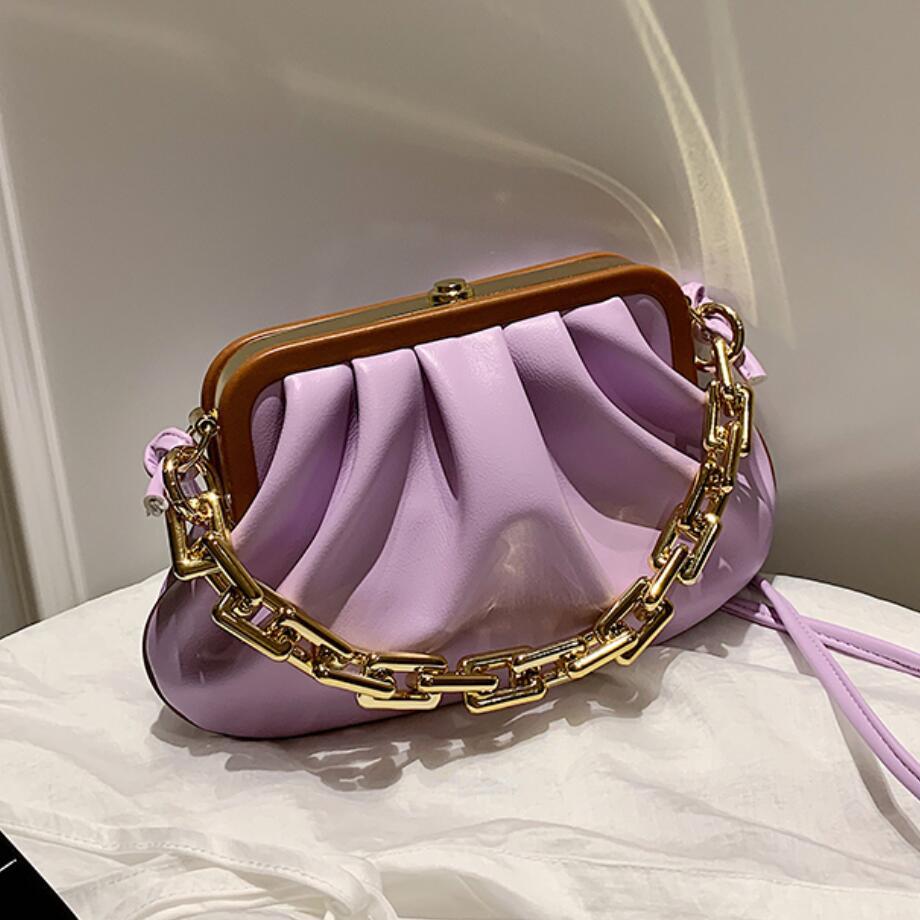 Solid color Chain Tote Cloud Bag 2020 Fashion New High-quality Leather Women's Designer Handbag Pleated Shoulder Messenger Bag