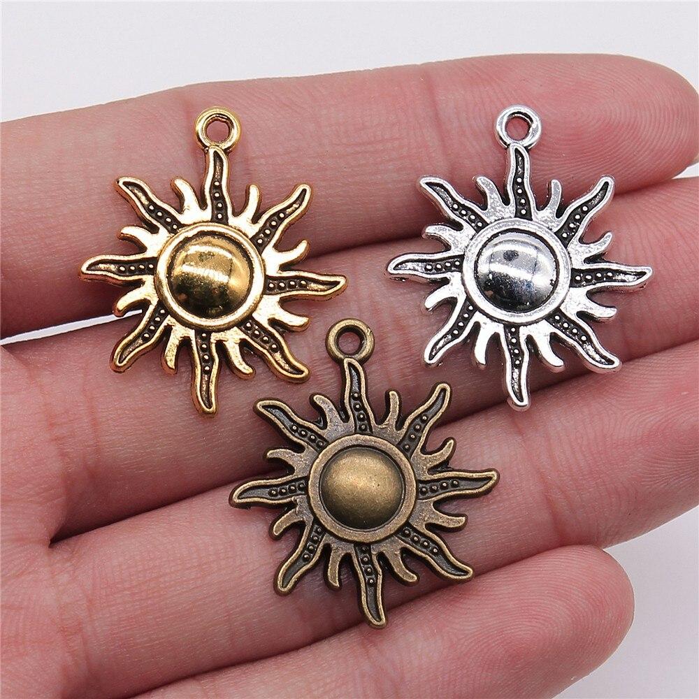 Pingentes para joias atacado 28x25mm encantos do sol 10 peças