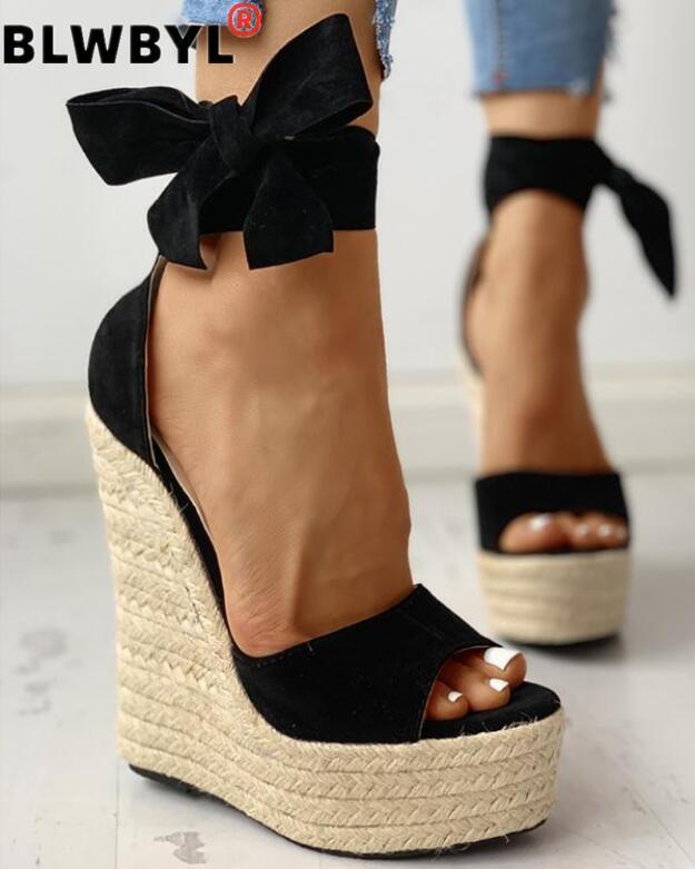 Women Summer Wedge Sandals Female Platform Bohemia High Heel Sandals Fashion Ankle Strap Open Toe Ladies Shoes Zapatos De Mujer