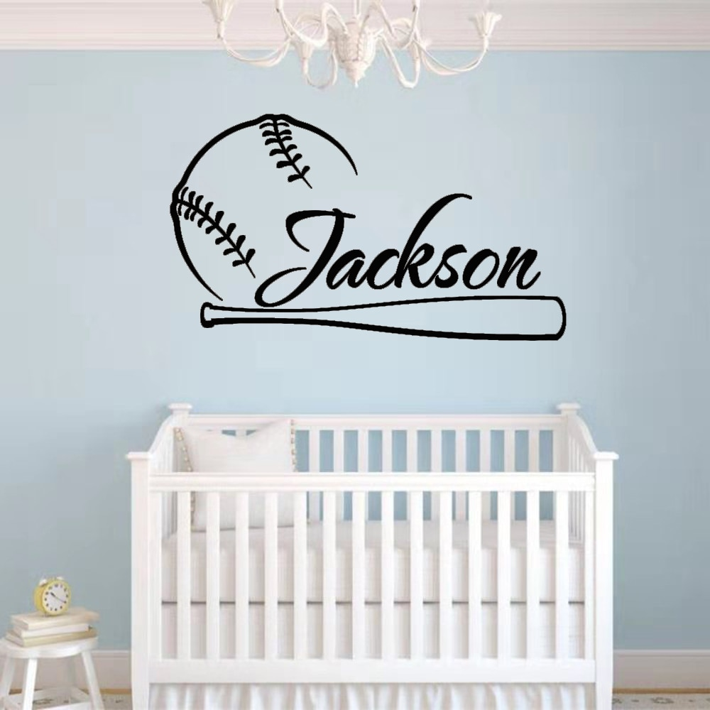 Pegatina de pared de béisbol, nombre personalizado, decoración de pared, diseño para niños, póster de dormitorio, pegatina Mural extraíble CL05
