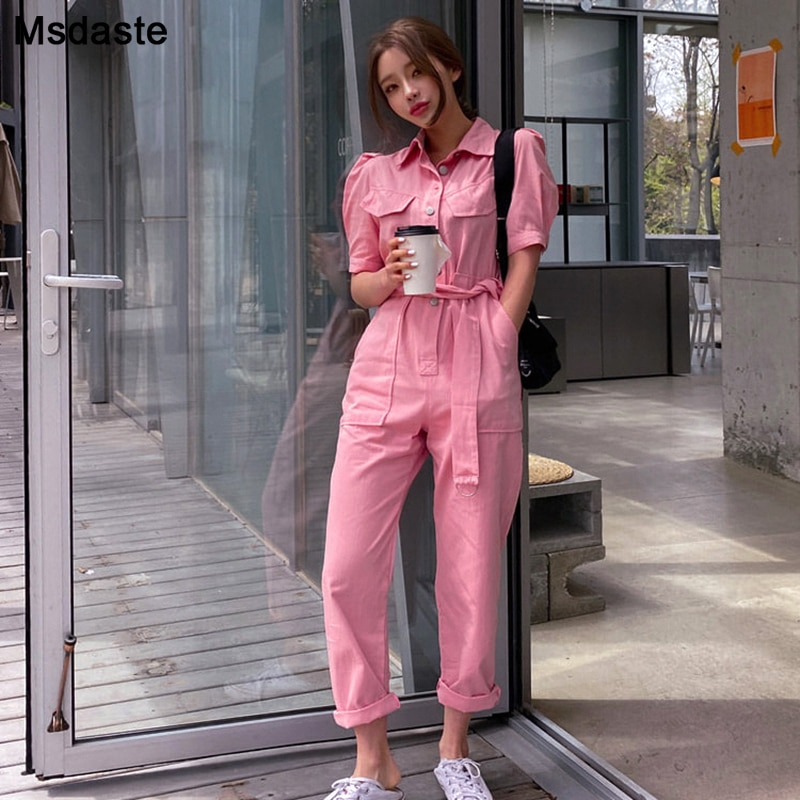 Denim Jumpsuit Women Summer Short Sleeve Loose Casual Jeans Jumpsuits Ankle-length Solid Pink Rompers Belted Woman Overalls women s casual loose denim overalls lady s strap harem jeans pocket ankle length pants for woman