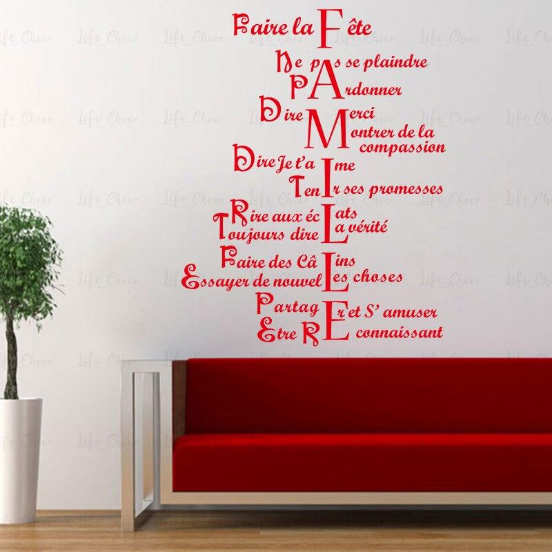 Pegatina para pared con frase con patrón francés para decoración del hogar y la sala de estar