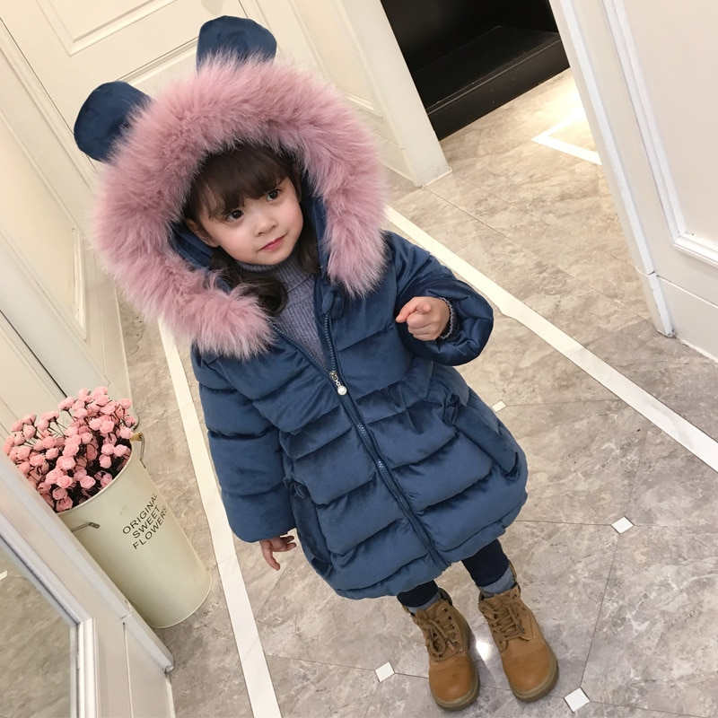 Girls Winter Cotton Clothing 2021 New Style Children's Medium-length Cotton Clothing Baby Thick Coat enlarge