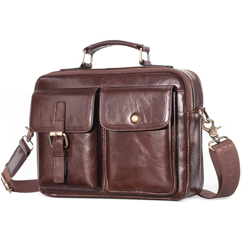 Brand New Cowhide Leather Messenger Bag Genuine Leather Handbag Male Travel Pad Shoulder Bag for Men Office Briefcase Totes