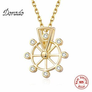 Dorado 925 Sterling Silver New Hot Sale Cute Romantic Pendant Necklace Women Chain Ferris Wheel Simple For Girl Zircon Collier