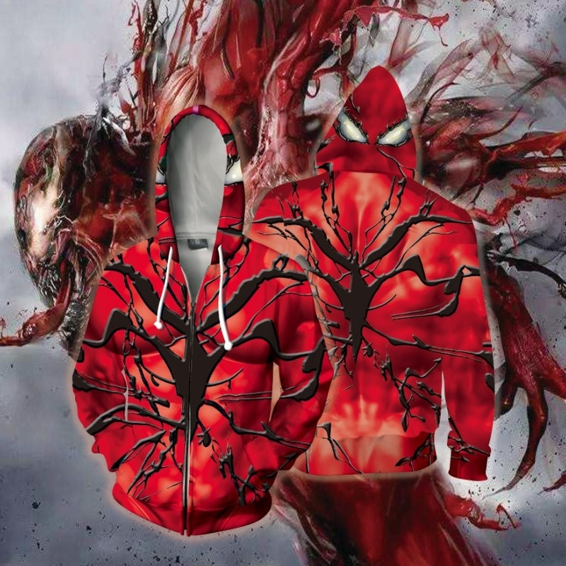 2021 New Movie Venom: Let There Be Carnage Hoodies Cospaly Massacre Hooded Red Venom Jacket Men's Tops Halloween Costume Coat
